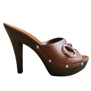 Gucci brown Leather Horsebit Wood Mule Slide Sanda